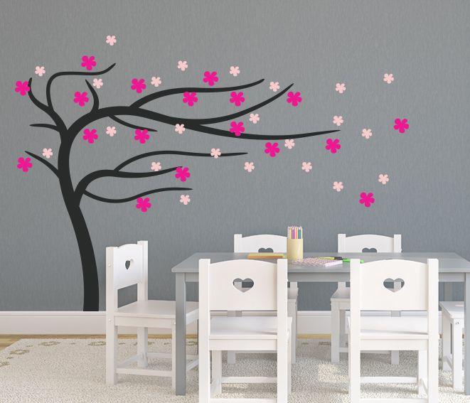 VÄGGDEKOR Blåsande träd rosa