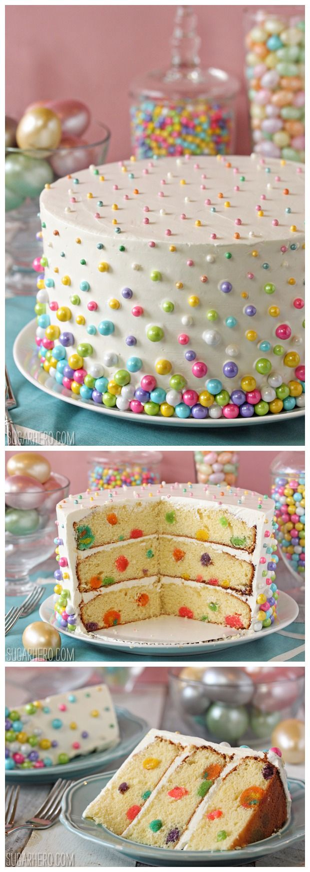 So lovely -- for any special occasion! (I see coconut in the recipe. YUM!) Easter Polka Dot Cake