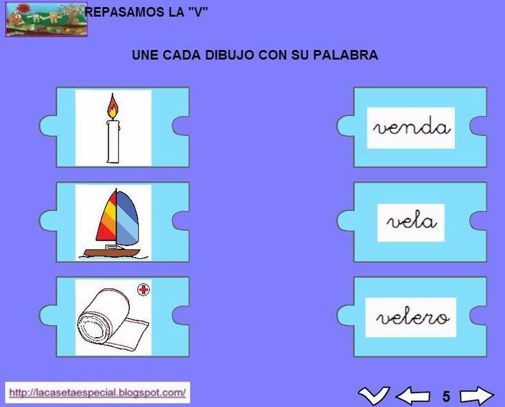 MATERIALES - Juegos LIM de lectoescritura: v  Se trata de juegos hechos con el editor de actividades EdiLim para trabajar la lectoescritura de manera divertida. Cada juego trabaja una letra y encontraremos actividades como: unir imagen con palabra, juego de memoria, ordenar sílabas y ordenar palabras para formar frases.  Descomprimid la carpeta JOC_EDILIM_V.zip y pulsad dos veces sobre el archivo repasamos_la_v.html.  http://arasaac.org/materiales.php?id_material=1199