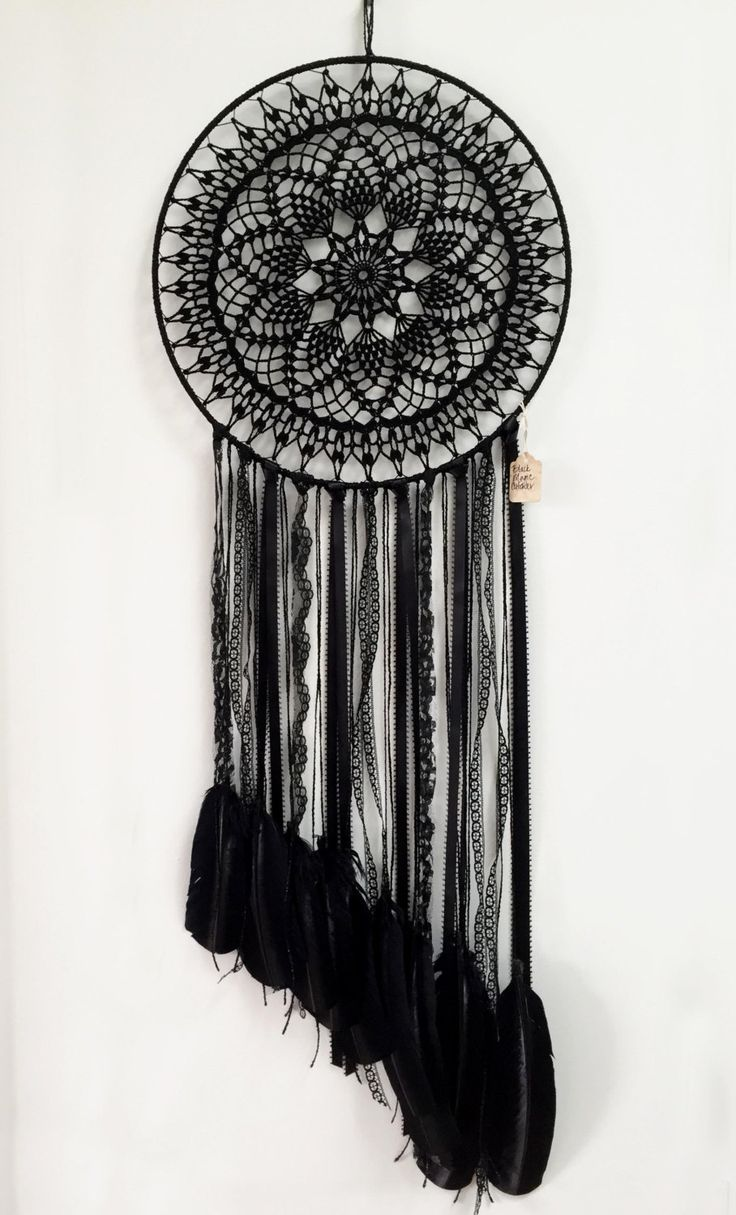 Magie noire BOHO Dreamcatcher Crochet napperon par CleanSl8
