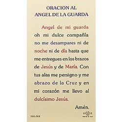 Oracion al Angel de la Guarda (Guardian Angels) - Spanish Prayer Card | The Catholic Company
