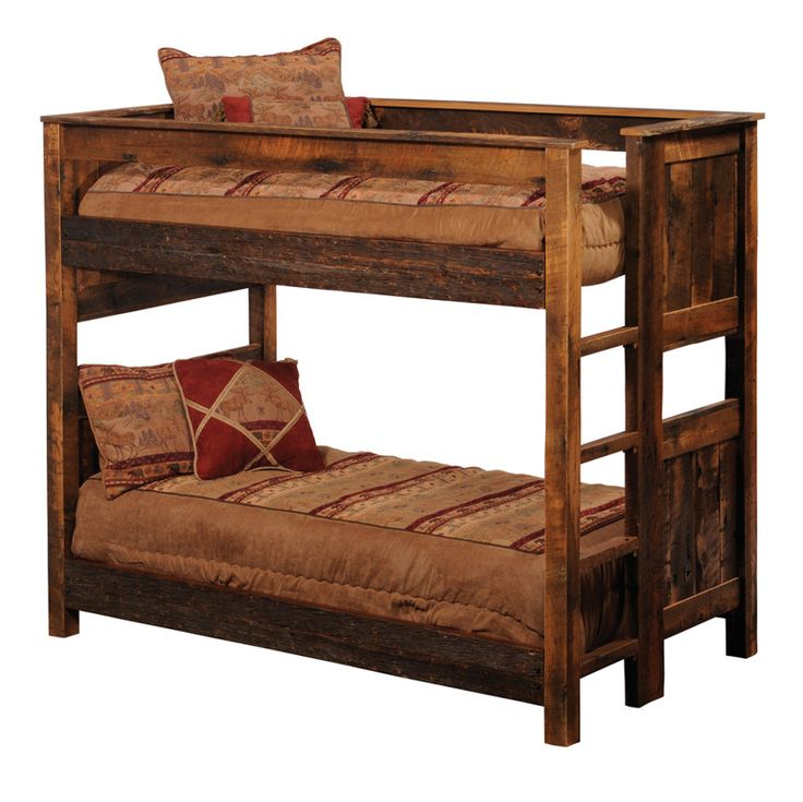 found it at wayfair fireside lodge reclaimed barnwood bunk bed with builtin ladder
