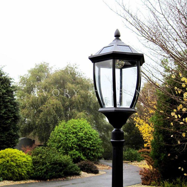 Solar Garden Light Post Victorian Style   Black