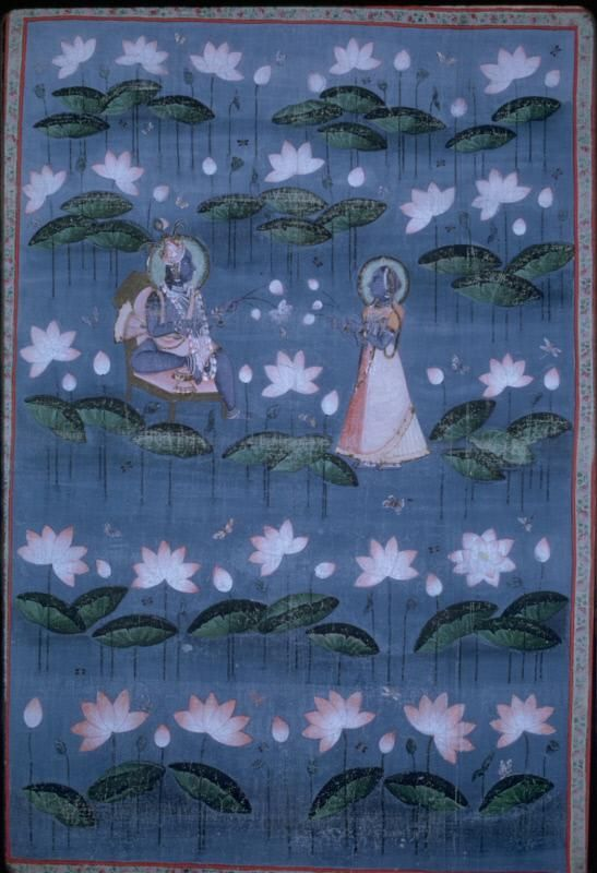 Krishna and Radha. India, Nathdwara, Rajasthan state. Date: 19th cent. Pichhavi is a wall hanging which is usually placed at the back of a shrine. It is associated with the Vallabhachari cult, which is devoted to the worship of Krishna. Such paintings often depict the events of Krishna's life and scenes related to his worship. Here, Krishna is enthroned and Radha is paying homage to him. They are shown against a background of lotus blossoms, butterflies and dragonflies...