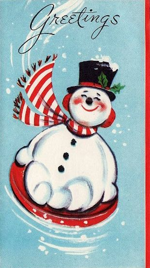 50s Snowman Vintage Christmas Card                                                                                                                                                                                 More