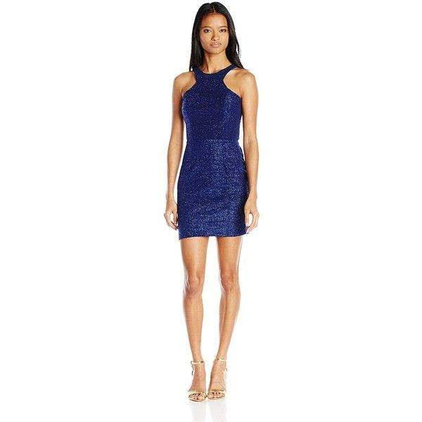 City Triangles Juniors Sparkle Dress with Back Cut Outs (600 MXN) ❤ liked on Polyvore featuring dresses, city triangles dress, sparkly dresses, blue sparkly dress, blue cut out dress and cut out dresses
