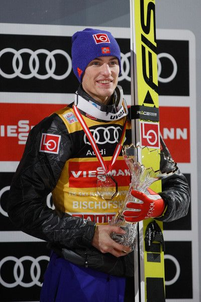 Daniel Andre Tande celebrates the 3rd  place at the 65th Four Hills Tournament ski jumping event on Day 2 of the 65th Four Hills Tournament ski jumping event at Paul-Ausserleitner-Schanze on January 6, 2017 in Bischofshofen, Austria.