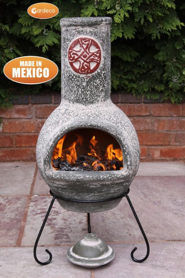 Gardeco Large Cruz Mexican Chiminea In Green With Red Motive Heartwarming Fires