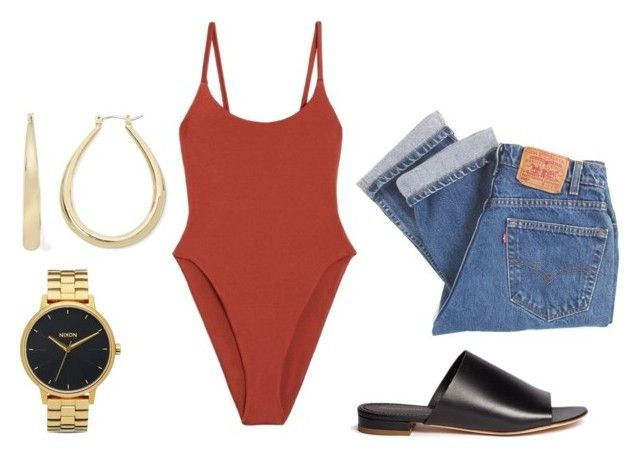 """""""staple: bodysuit and levis"""" by aliciademello ❤ liked on Polyvore featuring Alix, Levi's, Mansur Gavriel, Mixit and Nixon"""