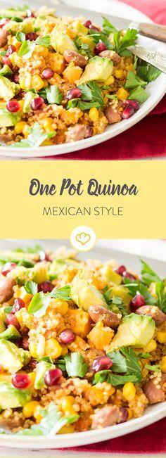Die mexikanische Küche kann so viel mehr als nur Tacos und Tortillas. Quinoa, Mais und Bohnen verwandeln sich zu einem echten One Pot Gericht.