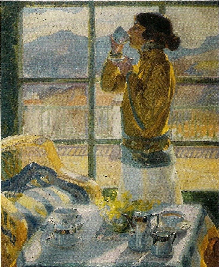 *'Clotilde Drinking Tea' - Francisco Pons Arnau  (1886-1953)*