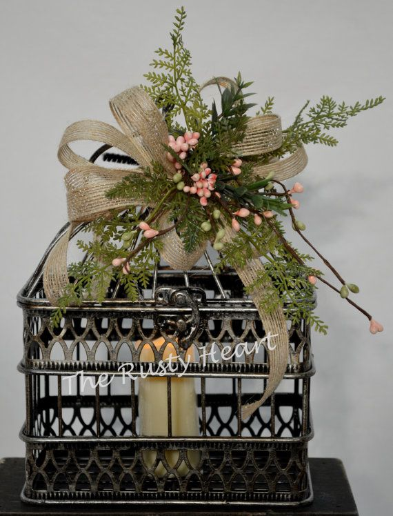 Decorated Birdcage with Battery Candle by TheRustyHeart on Etsy, $24.99