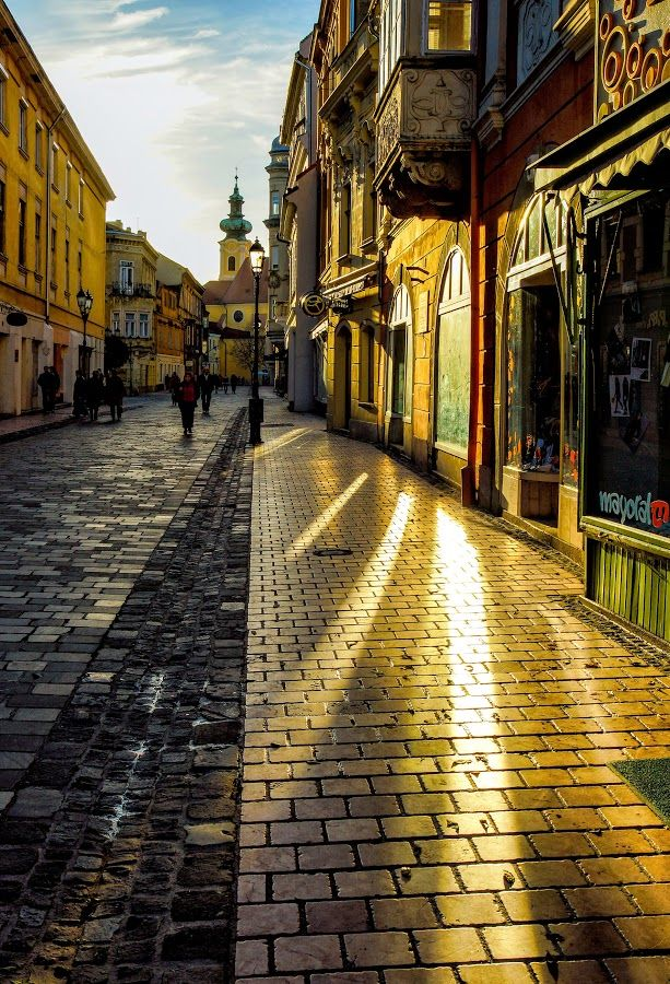 Sunlit Kazinczy St, Győr, Hungary