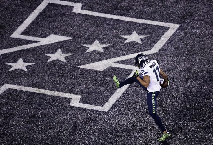 02.02.2014 r., USA, East Rutherford: Percy Harvin po zdobyciu punktów. (Foto: Win McNamee/Getty Images)
