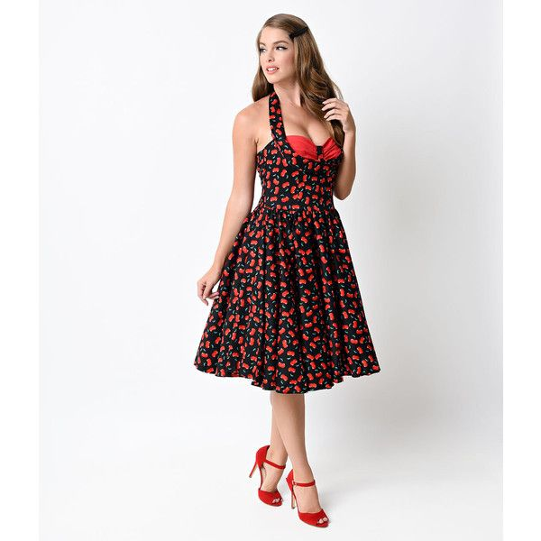 Iconic by Uv Black & Red Cherry Tierney Halter Swing Dress (48 CAD) ❤ liked on Polyvore featuring dresses, black, red a line dress, retro cocktail dresses, halter top, red halter dress and halter cocktail dress