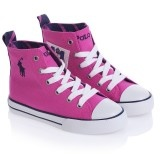 Ralph Lauren: Pink Canvas Lace-up High Top Trainers