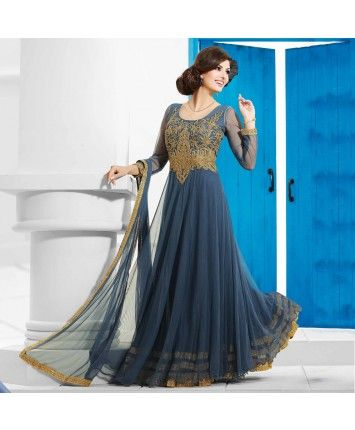 Stitched Blue Color Net Designer Gown  #ohnineone