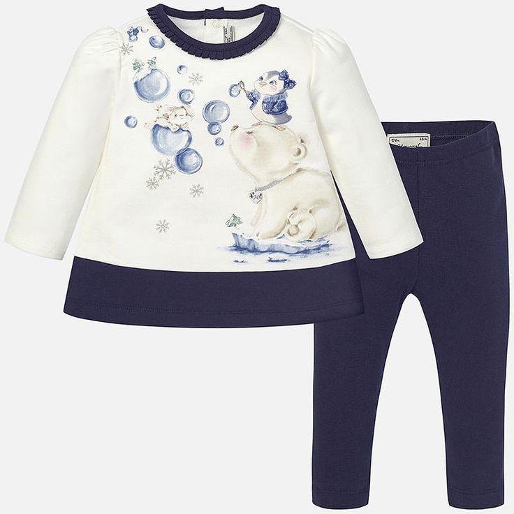 Mayoral Kız Bebek Kışlık Uzun Kol T-shirt Tayt Takım Koyu Mavi
