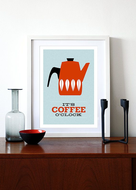 Coffee Print Catherineholm Poster Mid Century Modern Retro Kitchen Art  Enamelware Tea Office Print   Itu0027s Coffee Ou0027clock Red A3