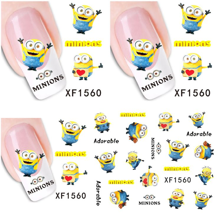 1 Aheet XF1560 Cartoon Watermark Water Transfer Design Yellow Despicable Minion Tip Nail Art Sticker Nails Decal Manicure Tools