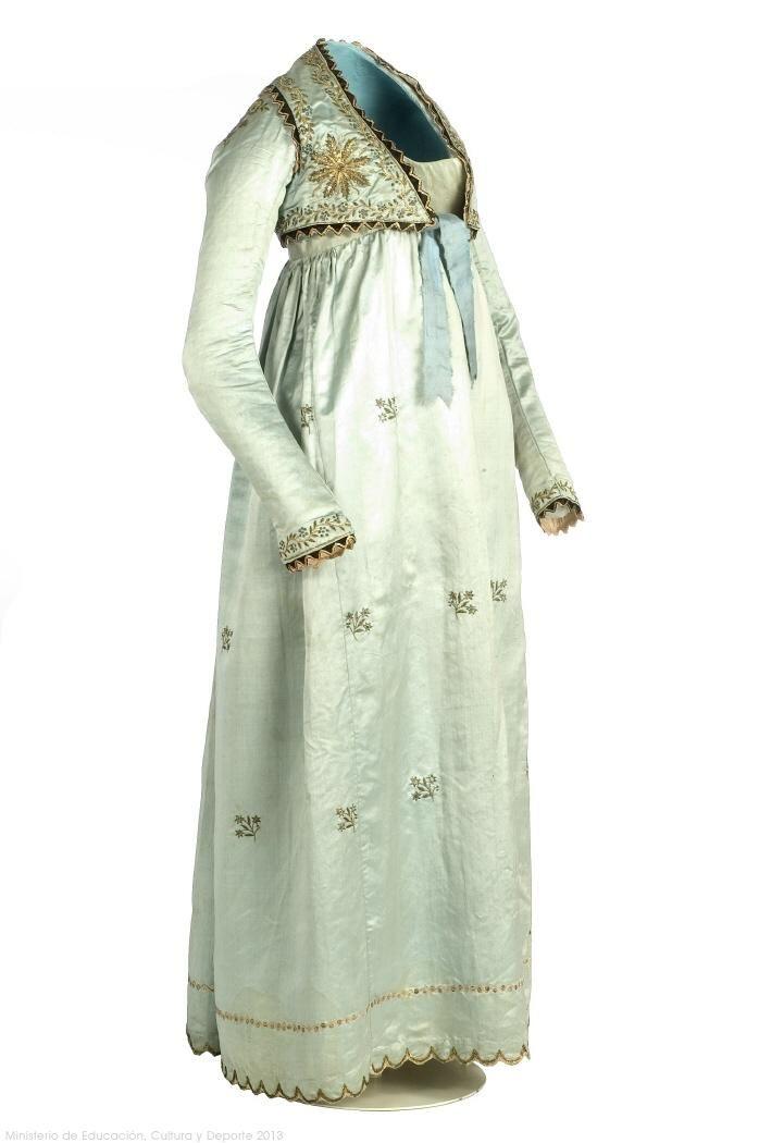 Dress: ca. 1805-1810, silk satin, cotton, metallic decoration and spangles.