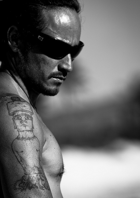 Tattooed Man Ready For Canoe Competition At Anakena beach, Easter Island, Chile by Eric Lafforgue, via Flickr