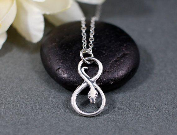 Collier serpent en argent sterling infini | Collier Infinity | Collier de serpent | Pendentif breloque serpent infini | Bijoux de serpent