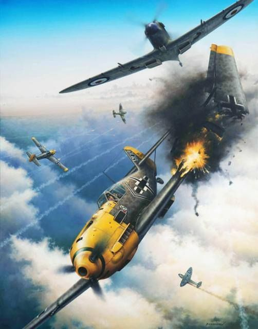 Battle of Britain:  German Bf 109 loses a wing to a British Spitfire