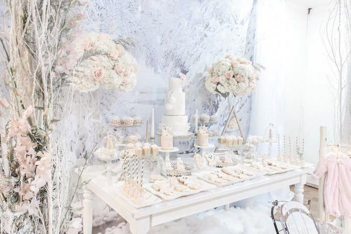 Dessert Tisch aus einem Winter Wonderland Baby Shower auf Kara's Party Ideas   Karas …   – Winter Wedding Themes
