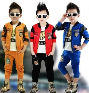 Sports Leopard Head Kids Jackets, Pants & T-Shirt Set