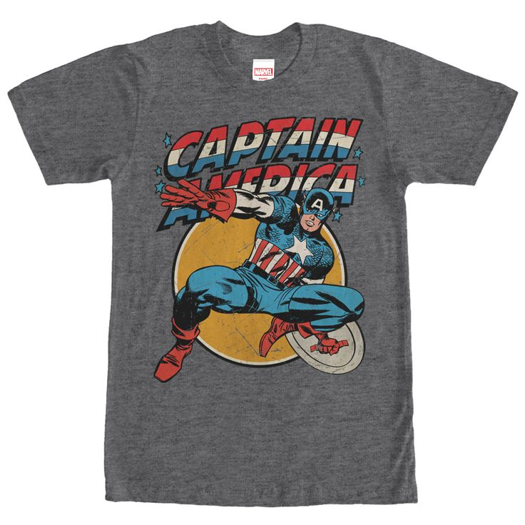 Captain America's trusty circular shield is indestructible on the Marvel Captain America Shield Heather Charcoal T-Shirt. This awesome gray Marvel shirt features Captain America, in a distressed vinta