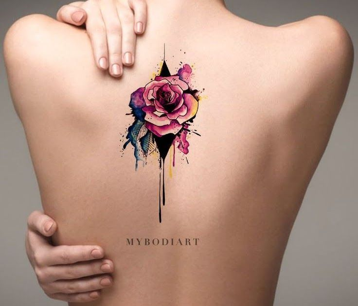 Cool Watercolor Melting Rose Back Tattoo Ideas For Women Cool Watercolor Melting Rose Back Tatt In 2020 Rose Tattoo On Back Quarter Sleeve Tattoos Neck Tattoo