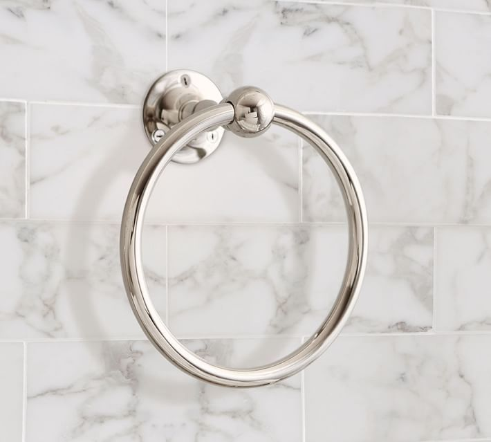 Sussex Towel Ring | Pottery Barn | Furnishing Frugally | Look For Less | Apothecary Bathroom
