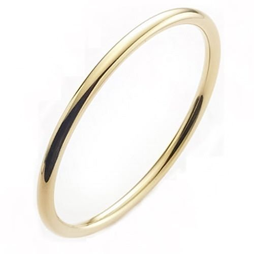 solid 9ct gold 5mm round slave bangle (46g)