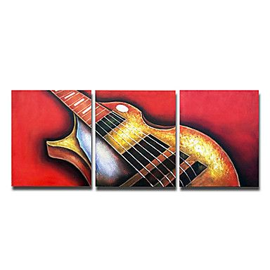 A Guitar Oil Painting - Set of 3 - Free Shipping