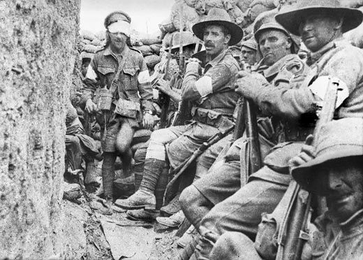 This photograph was taken on 9 August 1915 and shows men of the 1st Battalion (New South Wales) awaiting relief after virtually three days in action. The man with the bandage to his eyes is Captain Cecil Sasse, of Sydney, New South Wales. Sasse was awarded a DSO (Distinguished Service Order) for his courage and leadership during the Lone Pine battle. In part, his DSO read:  For conspicuous gallantry and determination during the attack on Lone Pine, Gallipoli Peninsula, on the 6th-7th August…
