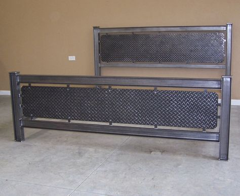This is the most rugged of industrial steel bed frames. Constructed from steel I beam, heavy structural channel iron,angle iron, steel tube and diamond treadplate. The finish is brushed and waxed raw steel for an authentic industrial look. Powder coating in any color is available at additional cost. This one is for a King size mattress and box spring, other sizes available by request. The height under the bottom rails is 6. From the rails that will hold your wood slats to the top of the…