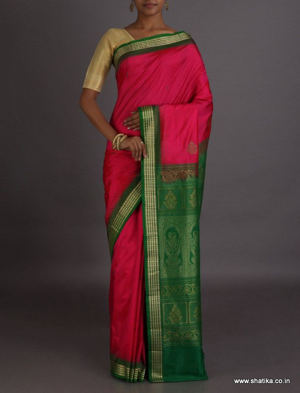Kamini Pink And Green Intricate #SambalpuriSilkSaree