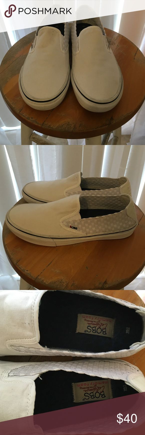 Vans look alike by Bobs from Skechers EUC White canvas