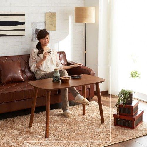ソファーに合わせやすいウォルナット材の高脚リビングテーブル|通販のベルメゾンネット