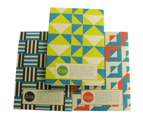 Our A5 notebooks with info panel on reverse. Fully recycled and printed using vegetable oil based inks by a socially responsible co-operative.