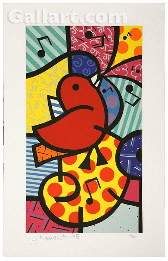 Romero Britto Song Birds Red Bird  S/N Screenprint  by GallArt