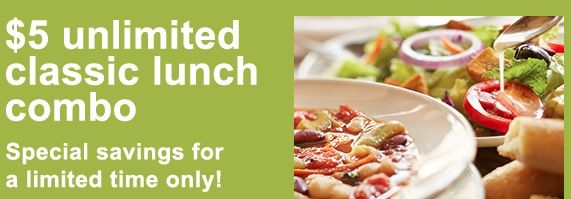 Head over to Olive Garden's website and grab this coupon good for an Unlimited Classic Lunch Combo for just $5! This coupon is good for Olive Garden's classic Soup, Salad, and Breadsticks combo.