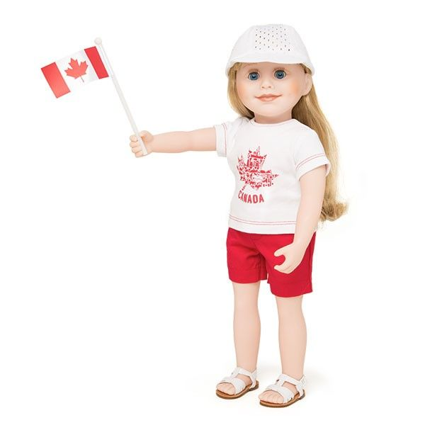 Canada Day Outfit - Your doll will love to wave her Canadian flag when dressed in her red shorts, white hat with embroidered red maple leaf and t-shirt with a maple leaf graphic created from different symbols of Canada. Includes journal pages that feature a fill-in-the-blank activity about Canada Day.