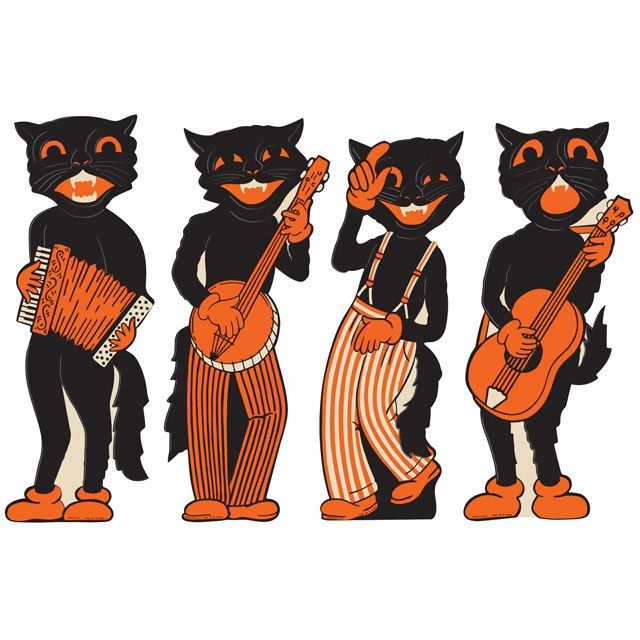 I'm the coolest Halloween cat in the jazz band. They say I am a handsome musician because I'm the 1941 lead singer man. The chics all dig me because of my wink, kiss and dance twist. Plus, I have fanc
