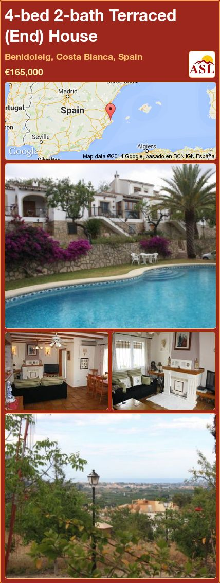 4-bed 2-bath Terraced (End) House in Benidoleig, Costa Blanca, Spain ►€165,000 #PropertyForSaleInSpain