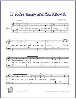If You're Happy and You Know It | Free Sheet Music for Easy Piano - http://makingmusicfun.net/htm/f_printit_free_printable_sheet_music/if_youre_happy_piano.htm