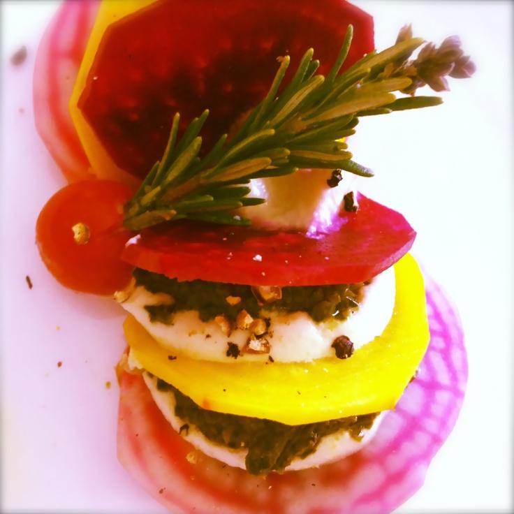 Heirloom Rainbow Beet Ravioli with Raw Pesto and Creamy Cashew Cheese. #artofplating