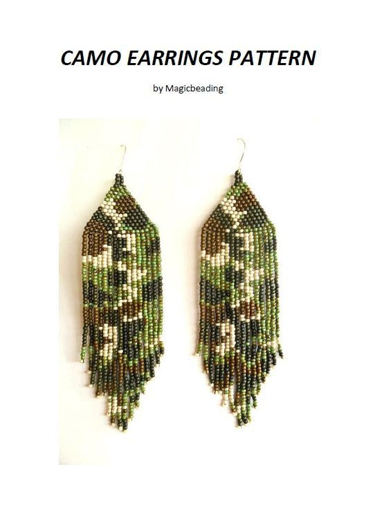 Camo earrings pattern, camo jewelry, camo native American earrings, brick stitch earrings, beading instructions, PDF file pattern on Etsy, $5.00