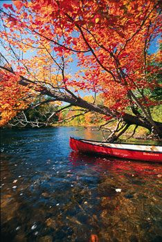 Algonquin Provincial Park, Ontario | Algonquin is renowned for its maple hills, its rugged granite ridges, and its network of nearly countless waterways. A weekend spent paddling the outer lakes can be rejuvenating. A week or more spent exploring the interior lakes can be life-changing. | Photo by George Fischer • Excerpted from Unforgettable Canada: 100 Destinations | 10